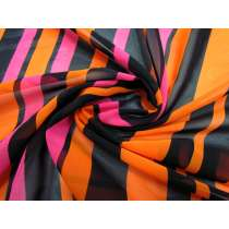 Vibrant Stripe Chiffon- Pink / Orange #1925