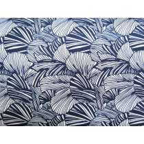 Fan Palm Leaf Cotton- Navy #4247