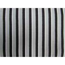 Black Pyjama Stripe Flannelette #1977