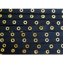 16mm Cotton Eyelet Tape- Navy/Gold #436