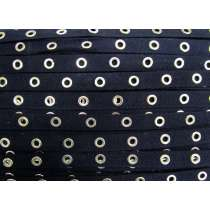 16mm Cotton Eyelet Tape- Navy / Silver #437