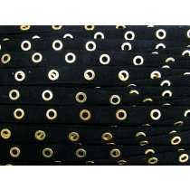 16mm Cotton Eyelet Tape- Black / Gold #438