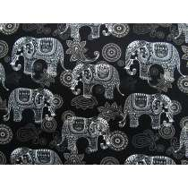 Elephant Paisley Cotton- Black #4264