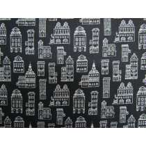 Little Buildings Cotton- Black #4314