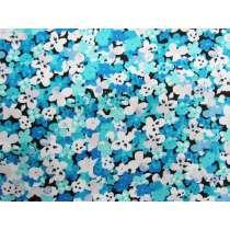 Social Butterfly Cotton- Floral Aqua #4320