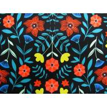 Flower Kaleidoscope Cotton- Black #PW1084