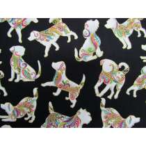 Dog On It Cotton- Small Multi Dog- Black #4399