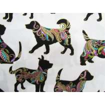 Dog On It Cotton- Large Multi Dog- White #4398