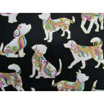 Dog On It Cotton- Large Multi Dog- Black #4400
