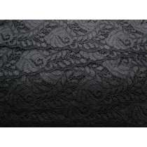 Romantic Vines Stretch Lace- Black #111- 68mm