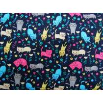 Garden Kitty Cotton- Navy #PW1136