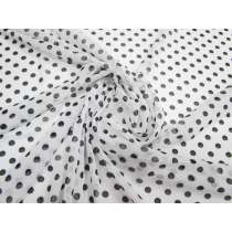 Polka Dot Stretch Mesh- White #2385