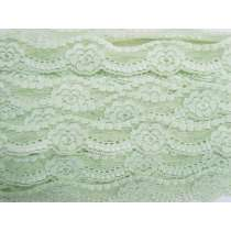 43mm Floral Stretch Lace Trim- Mint Cream #199