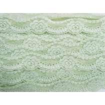 43mm Floral Stretch Lace Trim- Mint Cream #199