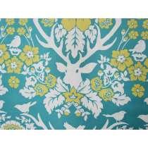 Birch Farm Cotton- Antler Damask- Peacock