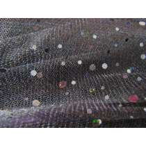 Sequins on Metallic Net- Black