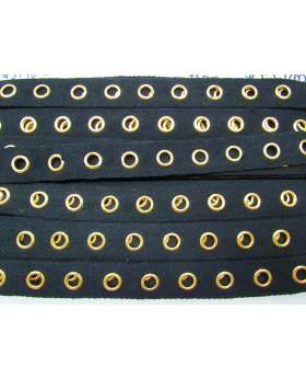 Cotton Eyelet Tap - Gold on Black #3448