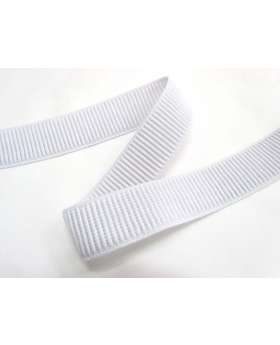 25mm Ribbed Elastic- White