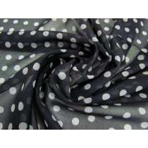 Spotted Chiffon- Grey on Black