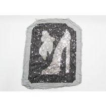 Heel & Bow Sequin Motif- Black/Silver