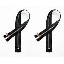 Satin Zip Pair- Closed End 45cm- Black- 2 zips for $5
