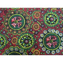 Wild Desert Flowers Cotton- Red