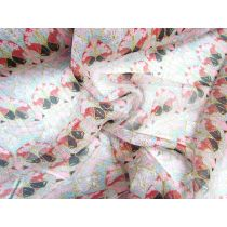 Pheasant Flower Metallic Stripe Silk Chiffon