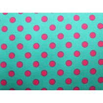 Colour Basic Big Spot Cotton- Pink on Aqua