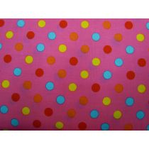 Colour Basic Big Spot Cotton- Multi on Hot Pink