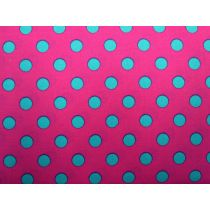 Colour Basic Big Spot Cotton- Aqua on Pink