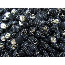 2 for $1.00 Fabric Covered Fashion Buttons- Gangster Pinstripe Black FB100