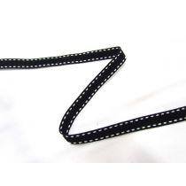 Designer Stitch Ribbon- White on Black