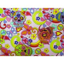 Candy Skulls Cotton- Pink
