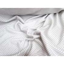 Glitter Stripe Jersey- Silver on White