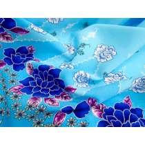 Sacret Floral Border Georgette- Blue