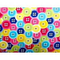 Rainbow Button Cotton- Pink