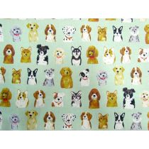 Portrait Puppies Linen Cotton- Mint