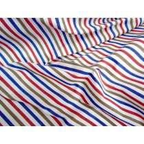 3mm Stripe Cotton- Blue / Red / Brown