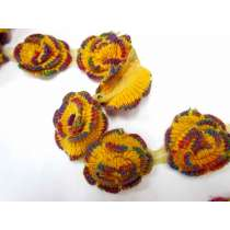 Knitted Rosettes on Mesh- Honeycomb