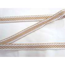 Candy Stripe Jacquard Webbing Tape- Toffee