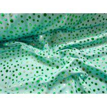 Iridescent Foil Spot Spandex- Mint