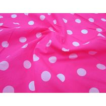 Spot Poplin- White on Fluro Pink