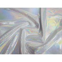 Holographic Mirror Foile Spot Spandex- White
