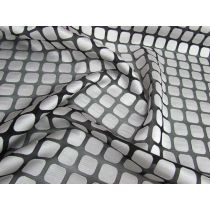Square Spaces Super Fine Chiffon- Silver/Black