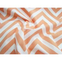 Chevron Cotton Poplin- Orange Sherbet