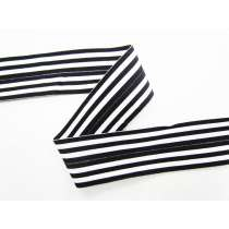 Soft Stripe Fold Over Elastic- White/Black
