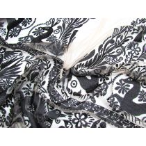 Woodland Duo Embroidered Lace Mesh 1.1m Panel- Black