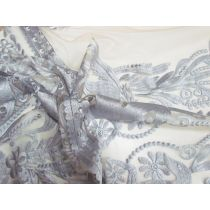 Woodland Duo Embroidered Lace Mesh 1.1m Panel- Platinum
