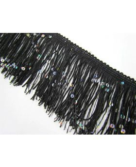 Sequin Fringe Trim- Black