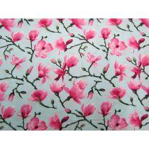 Spring Blossoms Cotton- Aqua Blue